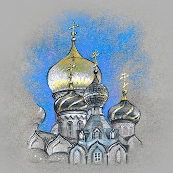 Dômes typiques de l'église orthodoxe dorée. image réalisée au pastel