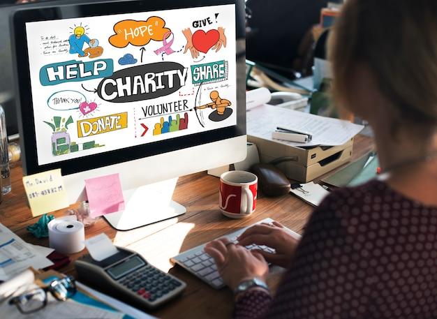 Don de charité donner de l'espoir aide concept