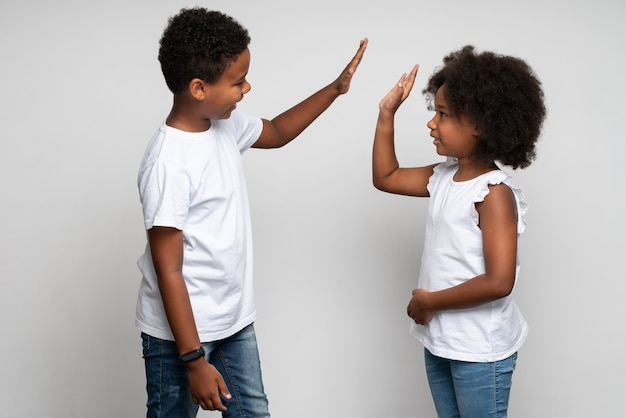 Donner cinq. vue portrait à la taille du garçon joyeux qui en donne cinq à sa sœur en posant au studio avec un mur blanc. notion de relations familiales