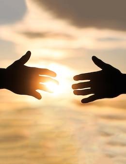 Donner un coup de main. sauvetage, geste d'aide ou mains. les mains tendues, salut, silhouette d'aide, concept d'aide.