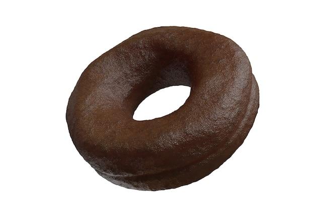 Donut au chocolat gros plan isolé sur fond de couleur blanche. concept idée minimale rendu 3d