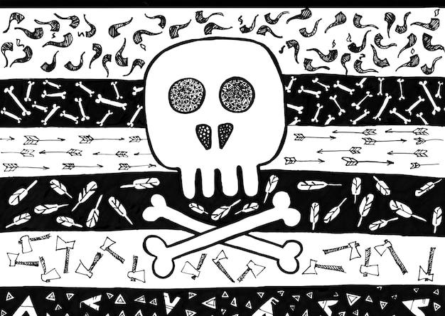 Doodle de crâne tribal indien. illustration raster de la conception de style boho. croquis dessiné à la main. noir et blanc.