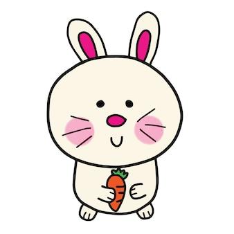 Doodle dessiné à la main de dessin animé mignon lapin