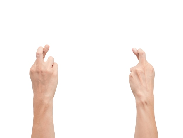 Dos des mains croiser le doigt blanc isolé