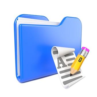 Dossier bleu avec crayon jaune et icône de fichier toon. isolé sur blanc.