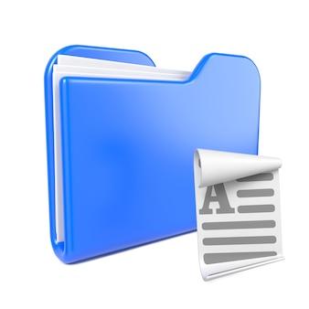 Dossier bleu avec l'icône de fichier toon. isolé sur blanc.