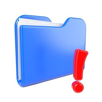 Dossier bleu avec signe d'exclamation rouge. isolé sur blanc.