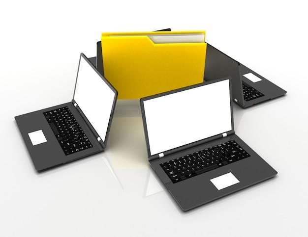 Dossier d'ordinateur avec des documents partageant des données à partir d'ordinateurs portables