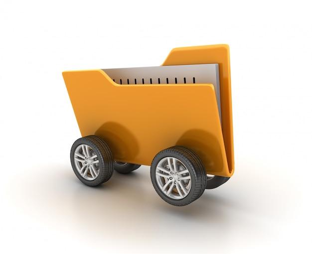 Dossier d'ordinateur sur roues