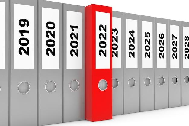 Dossiers de bureau avec signe du nouvel an 2022 sur fond blanc. rendu 3d