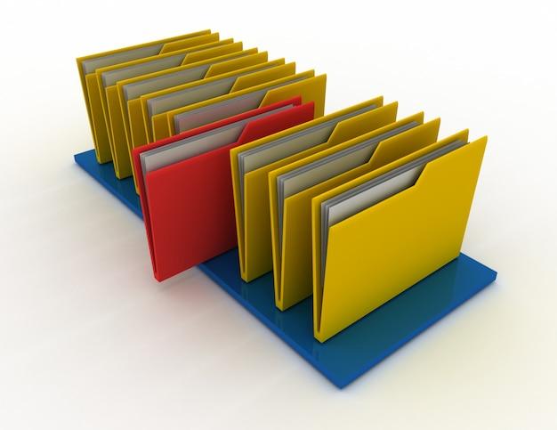 Dossiers colorés isolés sur blanc. illustration de rendu 3d