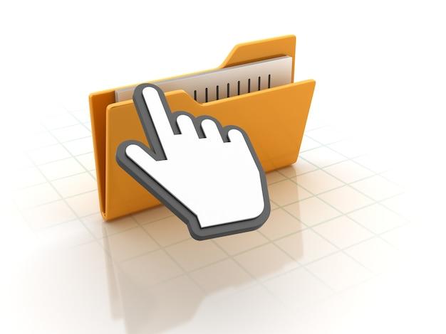 Dossiers d'ordinateur avec curseur à main
