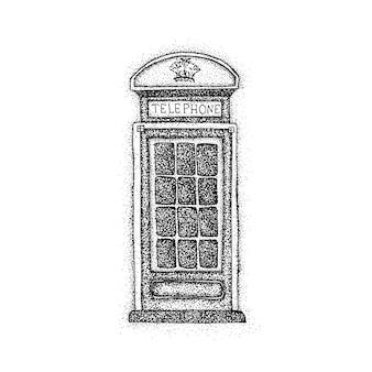 Dotwork de cabine téléphonique de londres. illustration raster de la conception de t-shirt à l'ancienne. croquis dessiné à la main de tatouage hipster.