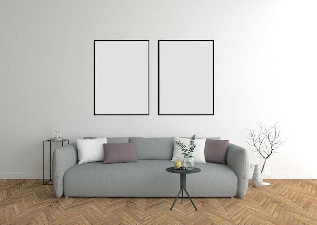 Double cadre, salon avec canapé gris et cadre