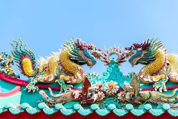 Double dragon sur le toit du temple chinois