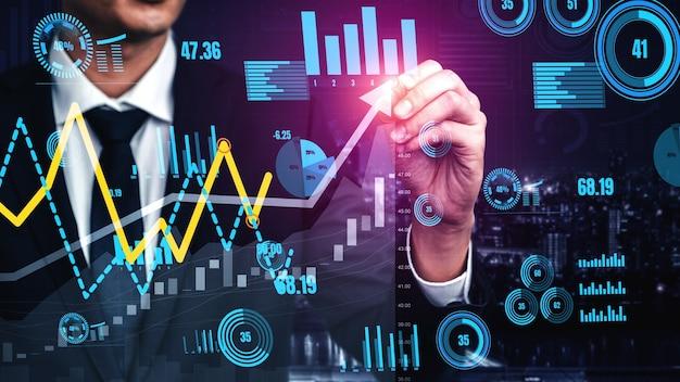 Double exposition image conceptuelle de la croissance des bénéfices des entreprises