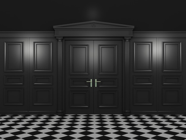 Double portes fermées noires et un plancher avec motif