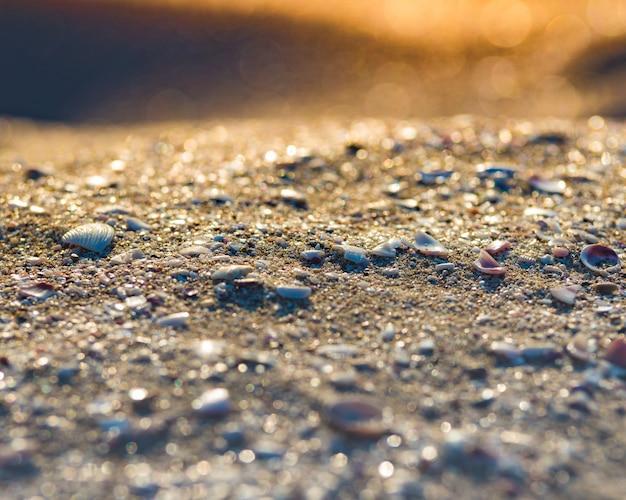 Douce vague de l'océan bleu sur la plage de sable. contexte.