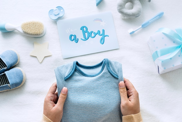 Douche de bébé bleu