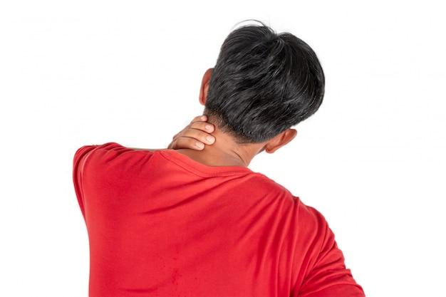 Douleur au cou de travail ou de sommeil isolé sur blanc