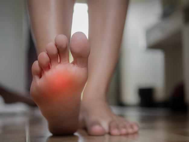 Douleur au pied féminin closeup, concept de soins de santé.
