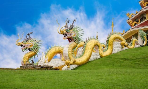 Dragon chinois jaune doré au temple huai pla kung, un temple chinois bublic dans la province de chiang rai, en thaïlande, sur fond de ciel bleu.