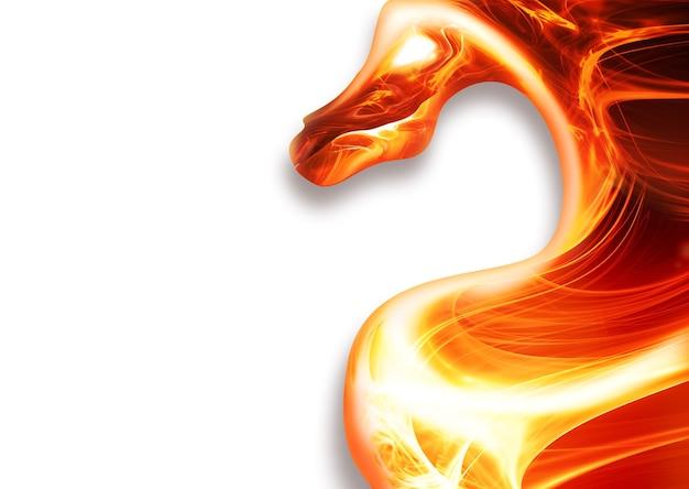 Dragon de feu abstrait sur fond blanc