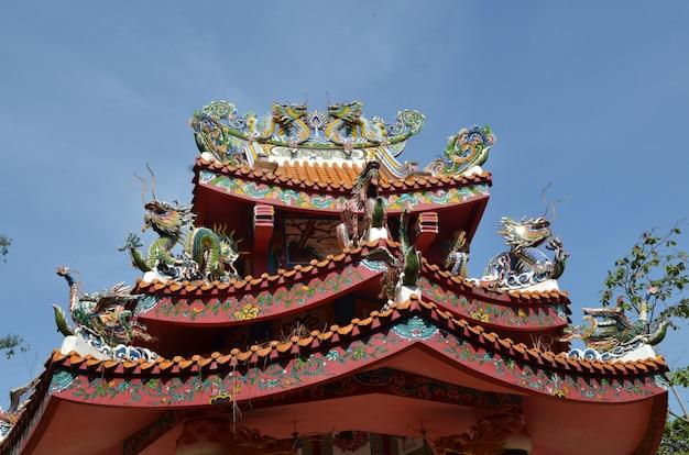 Dragons sur le toit avec fond de ciel bleu