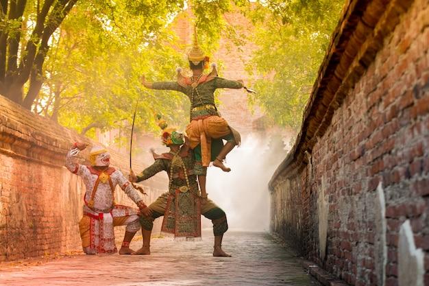 Drame de danse masquée exquise de khon en thaïlande.