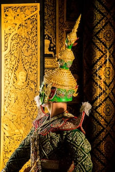 Drame de danse masquée exquise de khon en thaïlande