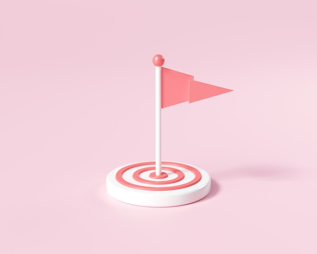 Drapeau 3d au milieu de la cible. visant un objectif, augmenter la motivation, un moyen d'atteindre un concept d'objectif. illustration de rendu 3d