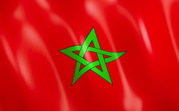 Drapeau 3d du maroc.