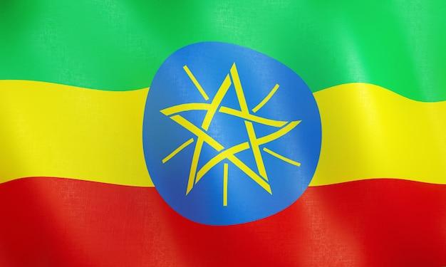 Drapeau 3d de l'ethiopie.