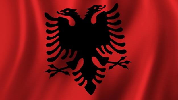 Drapeau de l'albanie agitant le rendu 3d de plan rapproché avec l'image de haute qualité avec la texture de tissu