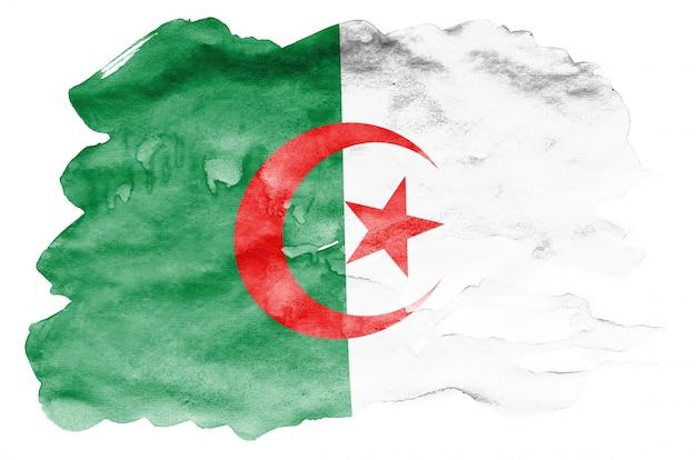 Le drapeau de l'algérie est représenté dans un style aquarelle liquide isolé sur blanc