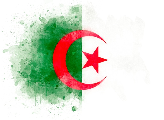 Drapeau de l'algérie, illustration aquarelle