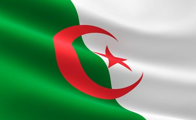 Drapeau de l'algérie. illustration du drapeau algérien agitant.