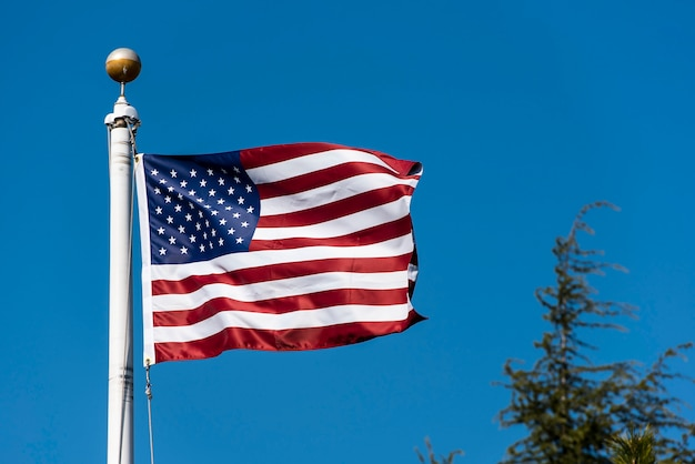 Drapeau américain, agitant, contre, ciel bleu, usa, drapeau, agitant