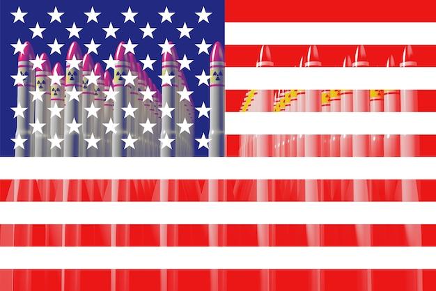 Drapeau américain avec bombes atomiques