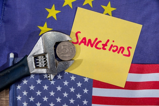 Drapeau américain. drapeau de la communauté européenne. sanctions du russe