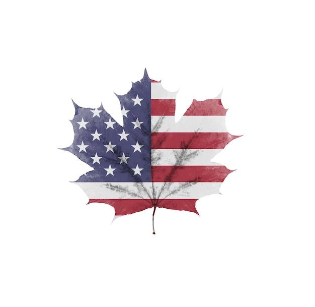 Le drapeau américain sur une feuille est isolé sur fond blanc