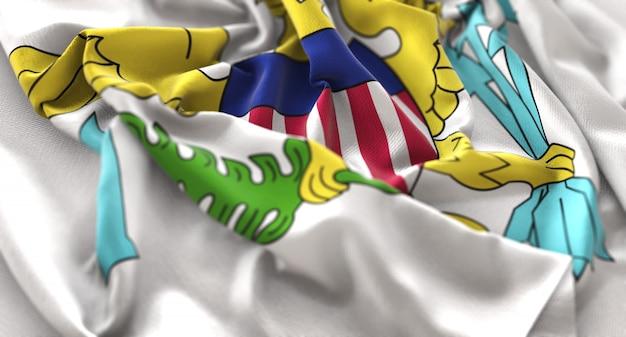Drapeau américain des îles vierges américaines ruffled beautifully waving macro plan rapproché