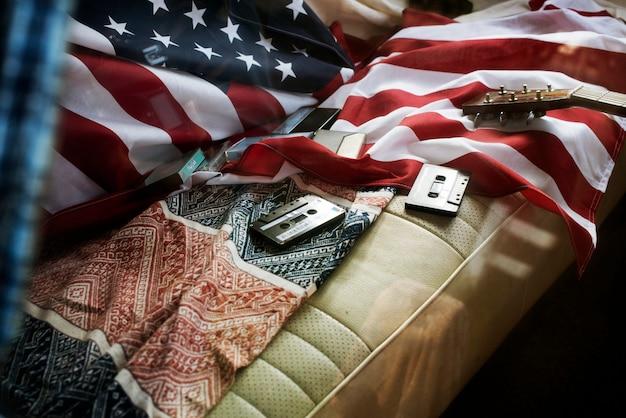 Drapeau américain, voyage, voyage, siège arrière