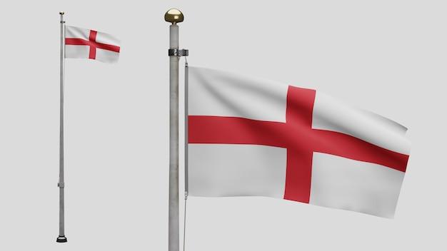 Drapeau de l'angleterre en 3d sur le vent. gros plan de la bannière anglaise soufflant, soie douce et lisse. fond d'enseigne de texture de tissu de tissu. utilisez-le pour le concept d'occasions de fête nationale et de pays.