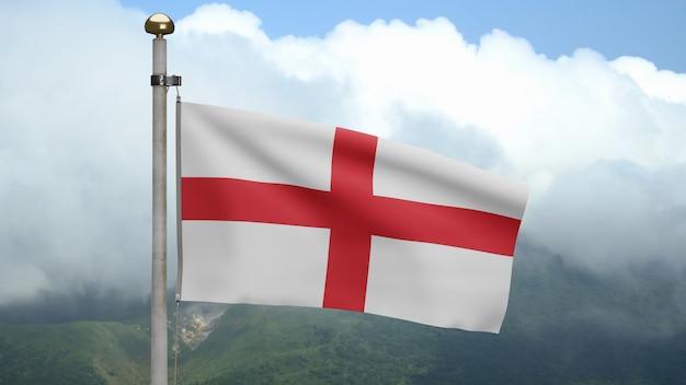 Drapeau de l'angleterre en 3d sur le vent à la montagne. bannière anglaise soufflée, soie douce et lisse. fond d'enseigne de texture de tissu de tissu. utilisez-le pour le concept d'occasions de fête nationale et de pays.