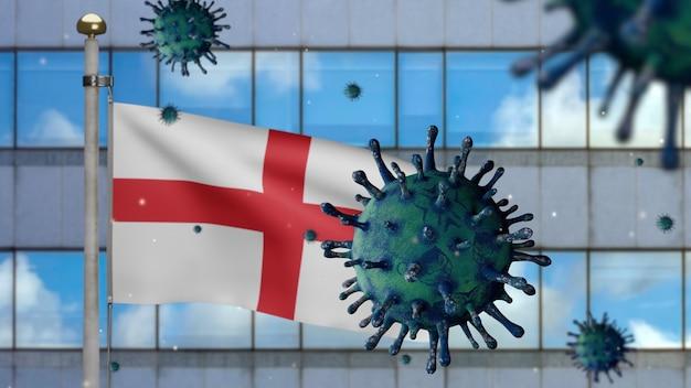 Drapeau de l'angleterre en 3d avec la ville de gratte-ciel moderne et le concept ncov du coronavirus 2019. éclosion asiatique en anglais, grippe à coronavirus en tant que cas de souche de grippe dangereuse en tant que pandémie. virus des microscopes