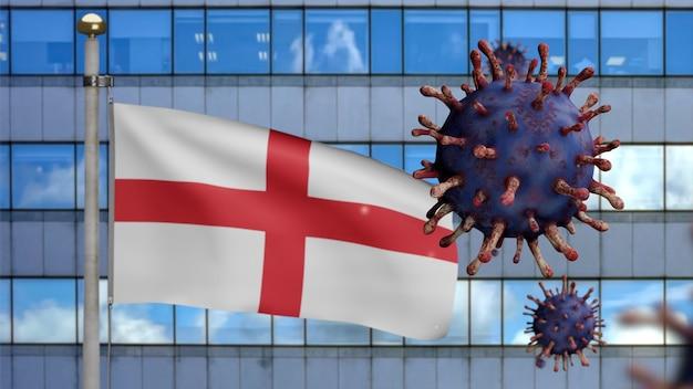 Drapeau de l'angleterre en 3d avec une ville de gratte-ciel moderne et une épidémie de coronavirus en tant que grippe dangereuse. virus covid 19 de type grippe avec bannière nationale anglaise soufflant à l'arrière-plan. notion de risque de pandémie
