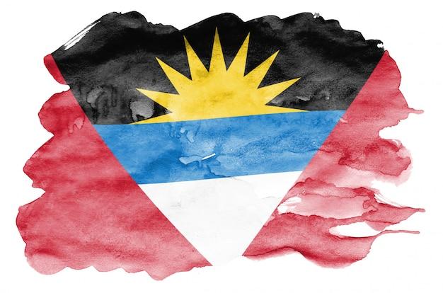 Le drapeau d'antigua-et-barbuda est représenté dans un style aquarelle liquide isolé sur blanc