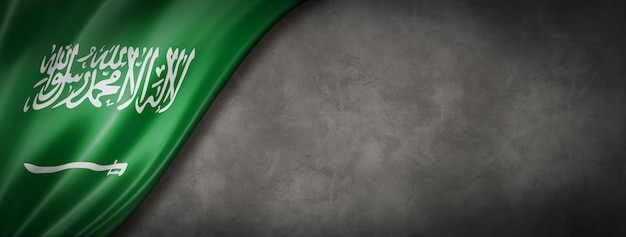 Drapeau de l'arabie saoudite sur mur de béton