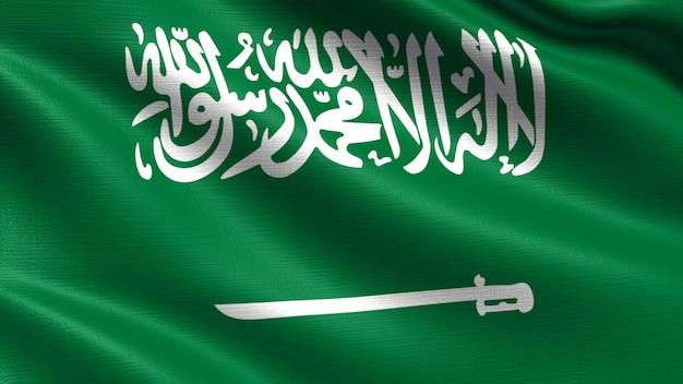 Drapeau de l'arabie saoudite, avec la texture du tissu ondulant